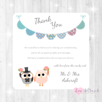 Bride & Groom Cute Owls & Bunting Green/Blue Wedding Thank You Cards