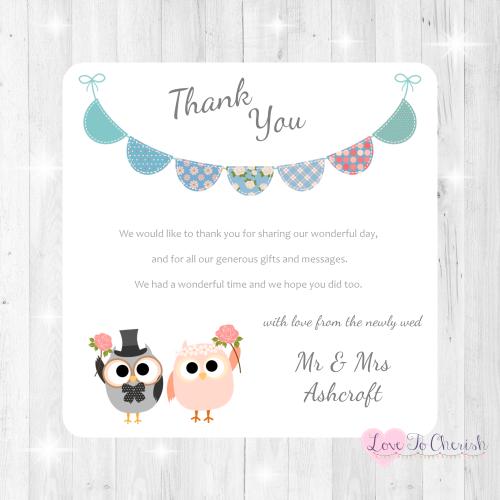 Bride & Groom Cute Owls & Bunting Green/Blue Wedding Thank You Cards