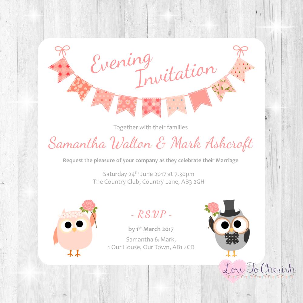 Bride & Groom Cute Owls & Bunting Peach Wedding Evening Invitations