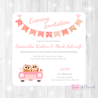 Bride & Groom Cute Owls in Car Peach Wedding Evening Invitations