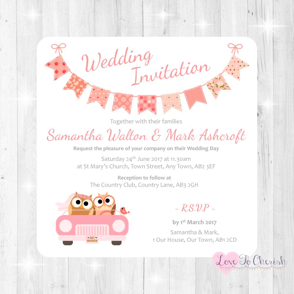 Bride & Groom Cute Owls in Car Peach Wedding Invitations