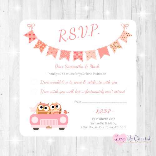 Bride & Groom Cute Owls in Car Peach Wedding RSVP Cards