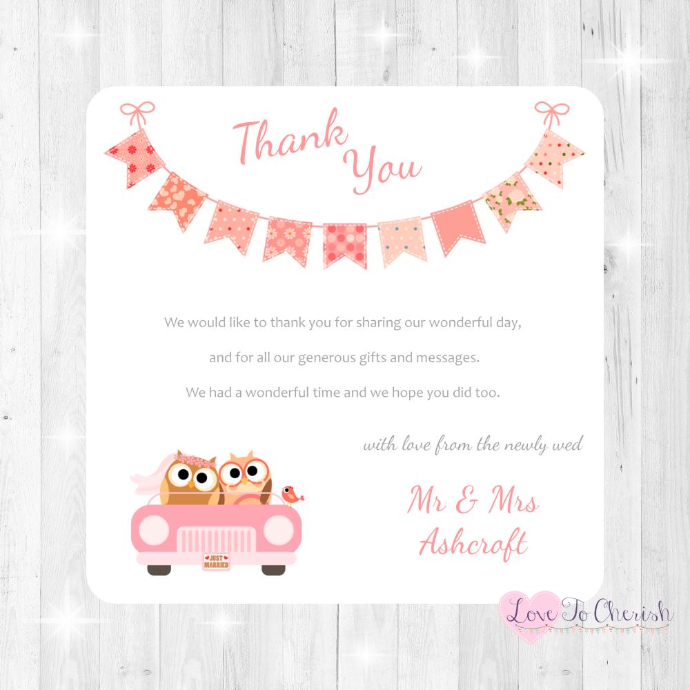 Bride & Groom Cute Owls in Car Peach Wedding Thank You Cards
