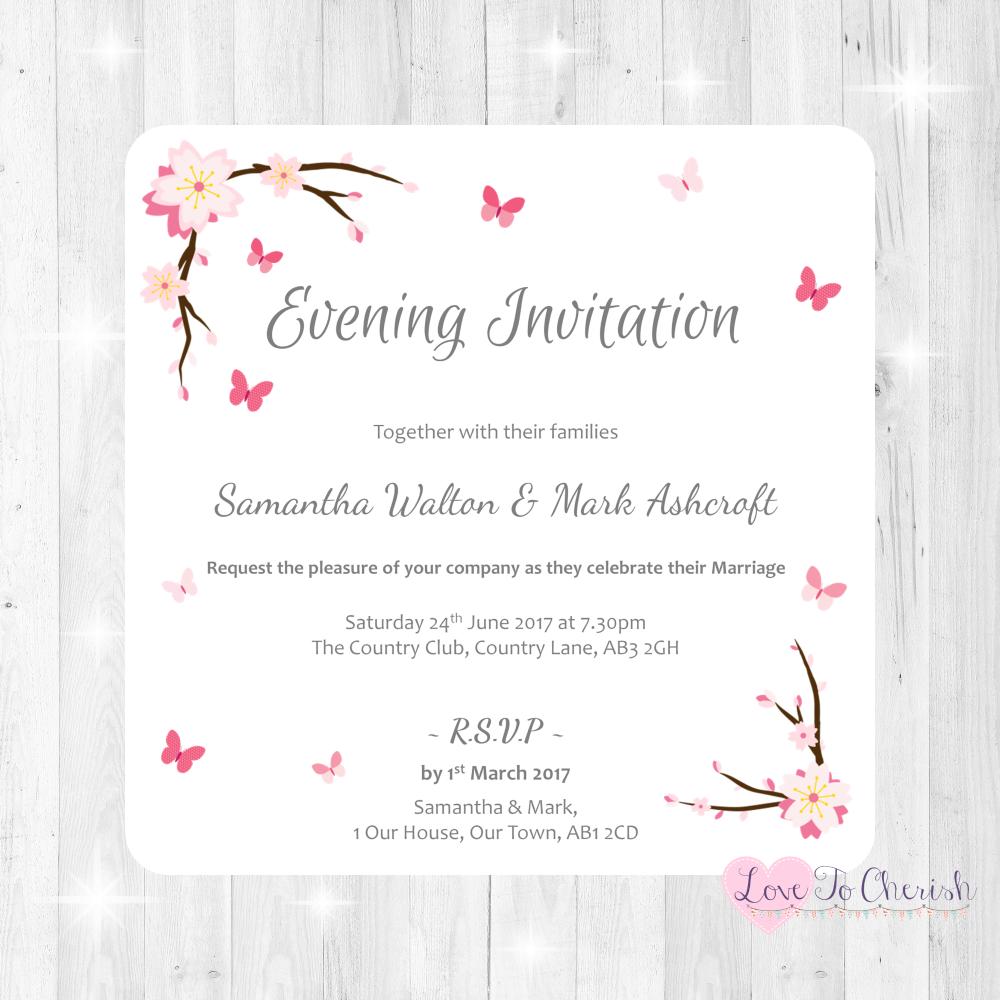 Cherry Blossom & Butterflies Wedding Evening Invitations