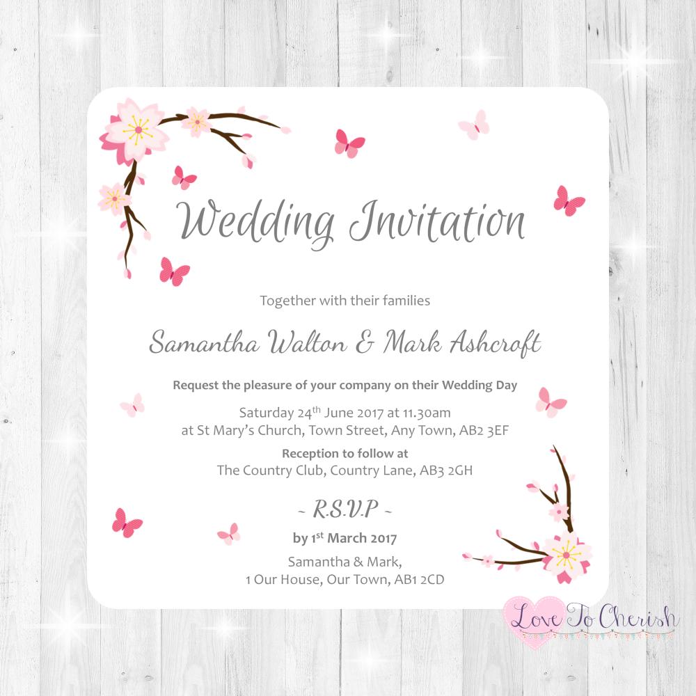 Cherry Blossom & Butterflies Wedding Invitations
