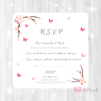 Cherry Blossom & Butterflies Wedding RSVP Cards