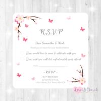 Cherry Blossom & Butterflies Wedding RSVP Cards