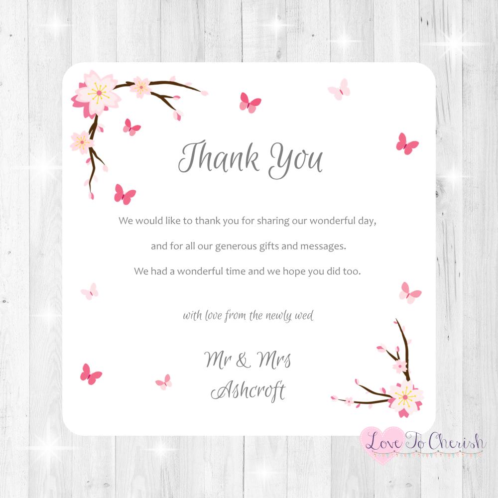 Cherry Blossom & Butterflies Wedding Thank You Cards