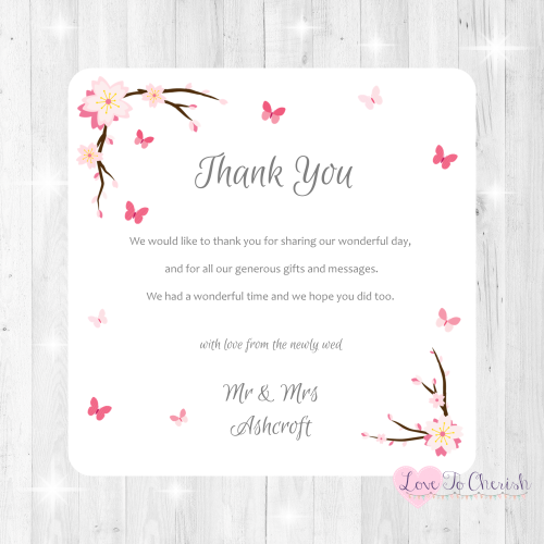 Cherry Blossom & Butterflies Wedding Thank You Cards