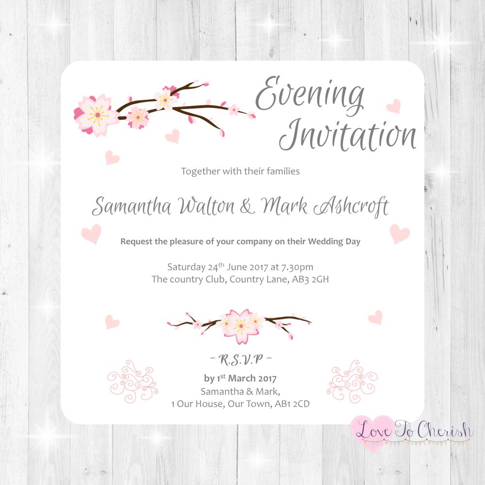 Cherry Blossom & Pink Hearts Wedding Evening Invitations