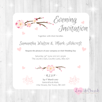 Cherry Blossom & Pink Hearts Wedding Evening Invitations