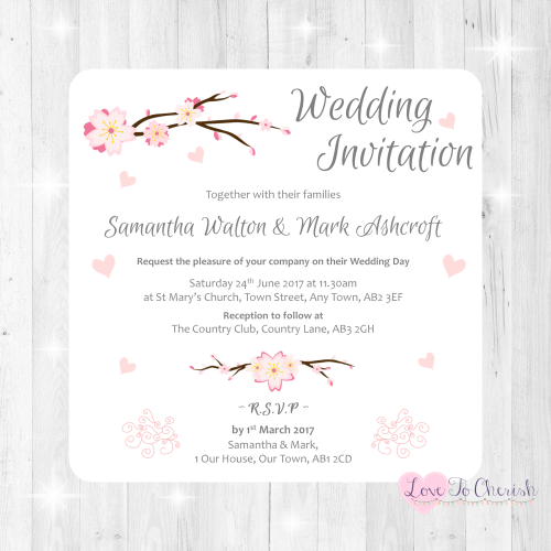 Cherry Blossom & Pink Hearts Wedding Invitations