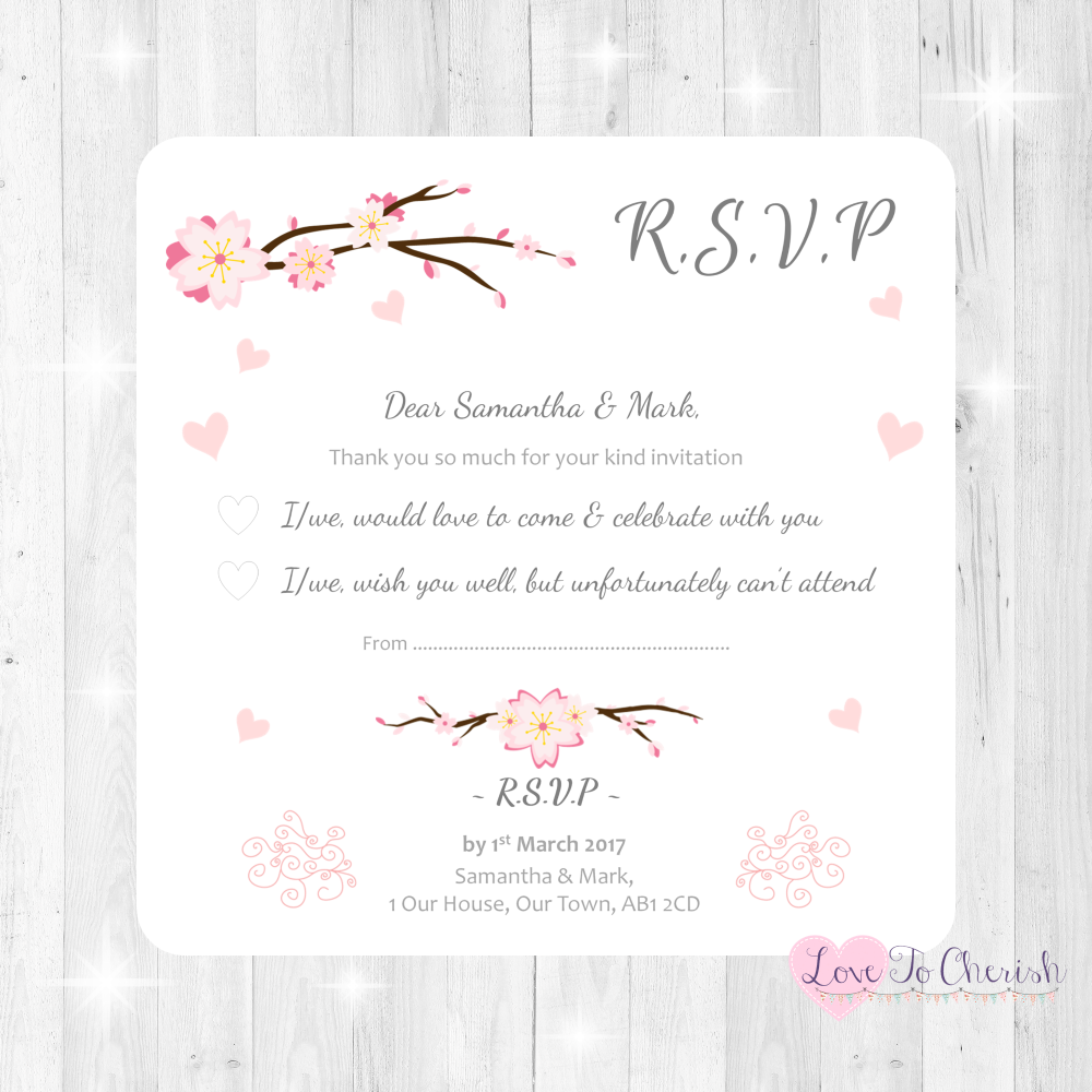 Cherry Blossom & Pink Hearts Wedding RSVP Cards