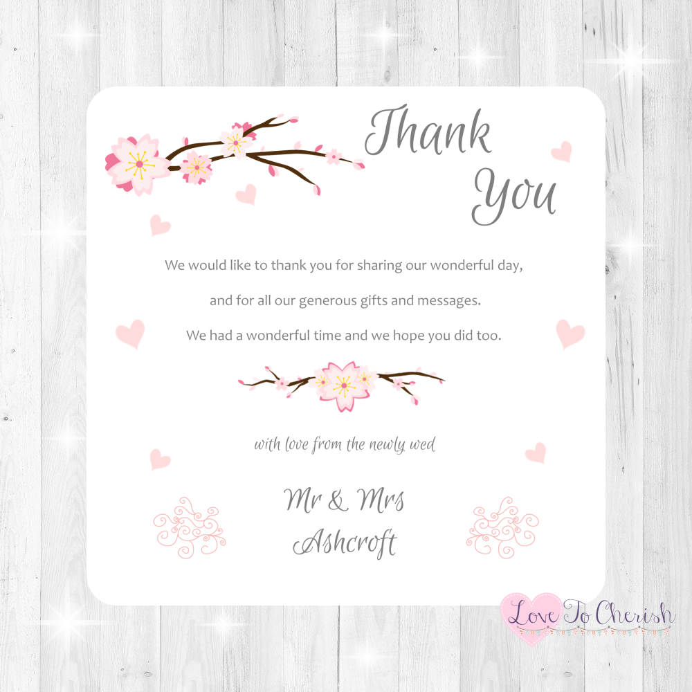 Cherry Blossom & Pink Hearts Wedding Thank You Cards