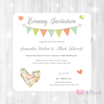 Shabby Chic Flower Heart & Bunting Wedding Evening Invitations