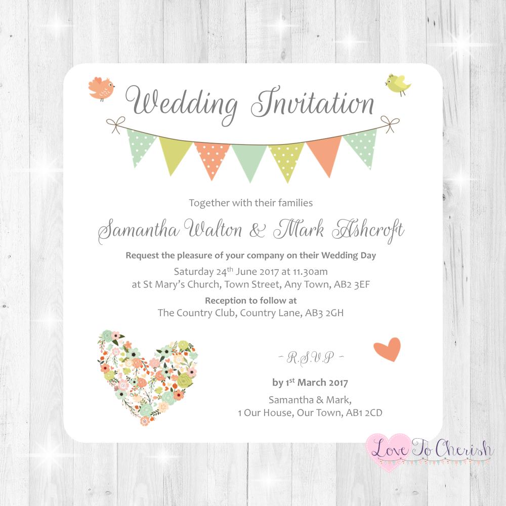 Shabby Chic Flower Heart & Bunting Wedding Invitations
