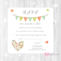 Shabby Chic Flower Heart & Bunting Wedding RSVP Cards