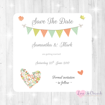 Shabby Chic Flower Heart & Bunting Wedding Save The Date Cards