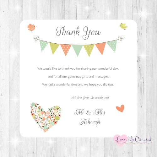 Shabby Chic Flower Heart & Bunting Wedding Thank You Cards