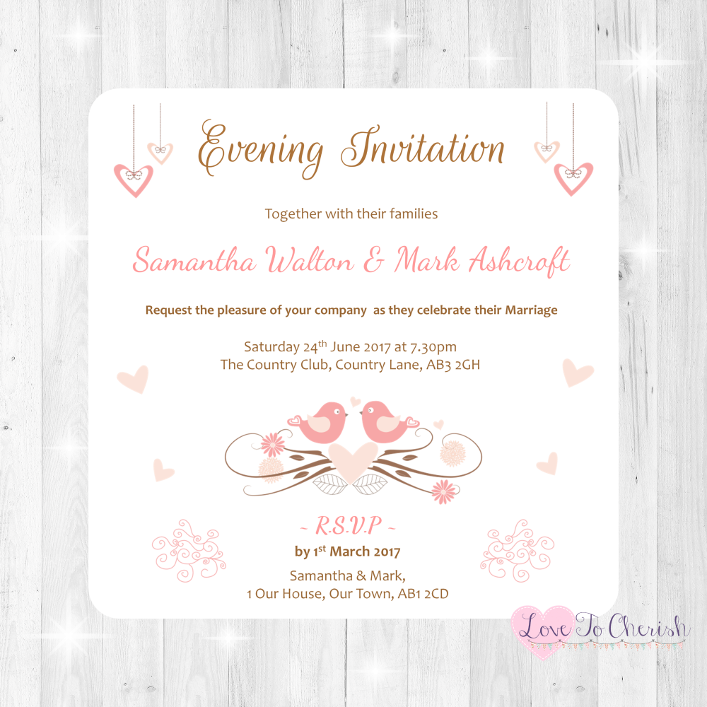 Shabby Chic Hanging Hearts & Love Birds Wedding Evening Invitations