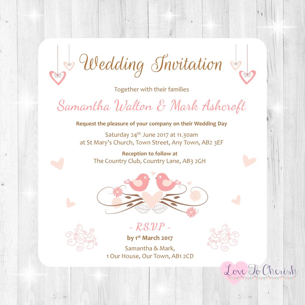 Shabby Chic Hanging Hearts & Love Birds Wedding Invitations