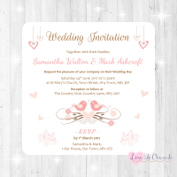 Shabby Chic Hanging Hearts & Love Birds Wedding Invitations
