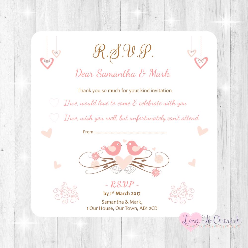 Shabby Chic Hanging Hearts & Love Birds Wedding RSVP Cards