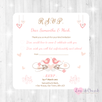 Shabby Chic Hanging Hearts & Love Birds Wedding RSVP Cards