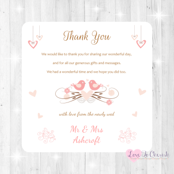 Shabby Chic Hanging Hearts & Love Birds Wedding Thank You Cards