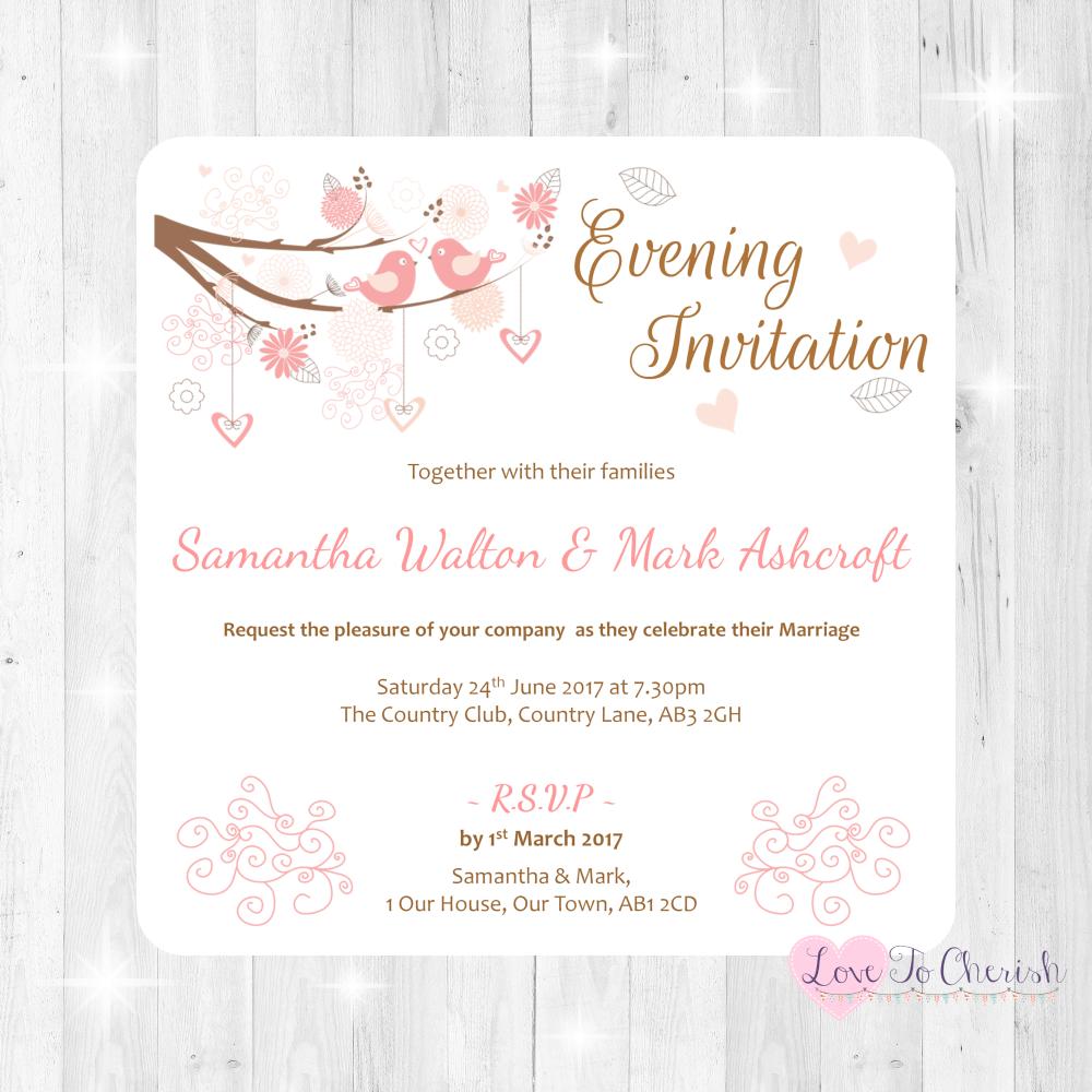 Shabby Chic Hearts & Love Birds in Tree Wedding Evening Invitations