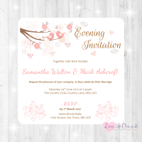 Shabby Chic Hearts & Love Birds in Tree Wedding Evening Invitations