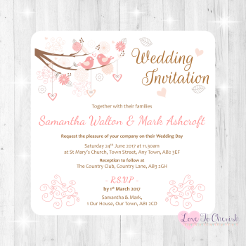 Shabby Chic Hearts & Love Birds in Tree Wedding Invitations