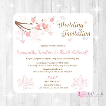 Shabby Chic Hearts & Love Birds in Tree Wedding Invitations