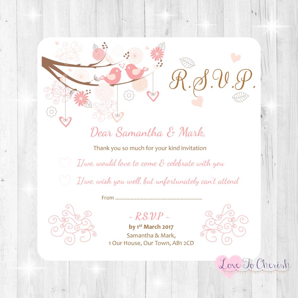 Shabby Chic Hearts & Love Birds in Tree Wedding RSVP Cards