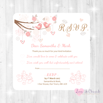 Shabby Chic Hearts & Love Birds in Tree Wedding RSVP Cards