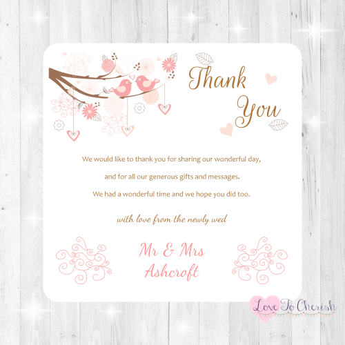 Shabby Chic Hearts & Love Birds in Tree Wedding Thank You Cards
