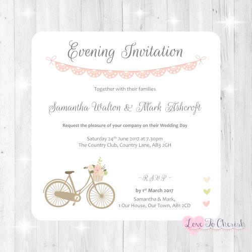 Vintage Bike/Bicycle Shabby Chic Pink Lace Bunting Wedding Evening Invitati