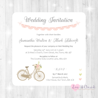 Vintage Bike/Bicycle Shabby Chic Pink Lace Bunting Wedding Invitations