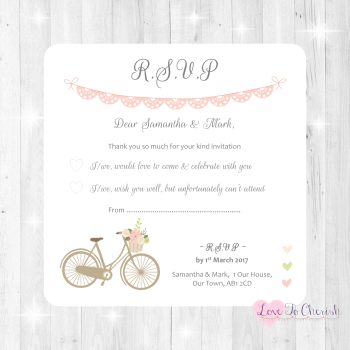 Vintage Bike/Bicycle Shabby Chic Pink Lace Bunting Wedding RSVP Cards
