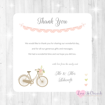 Vintage Bike/Bicycle Shabby Chic Pink Lace Bunting Wedding Thank You Cards