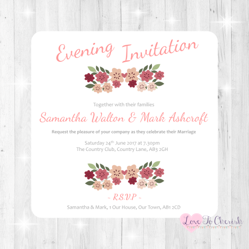 Vintage Floral/Shabby Chic Flowers Wedding Evening Invitations