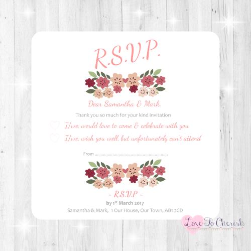 Vintage Floral/Shabby Chic Flowers Wedding RSVP Cards