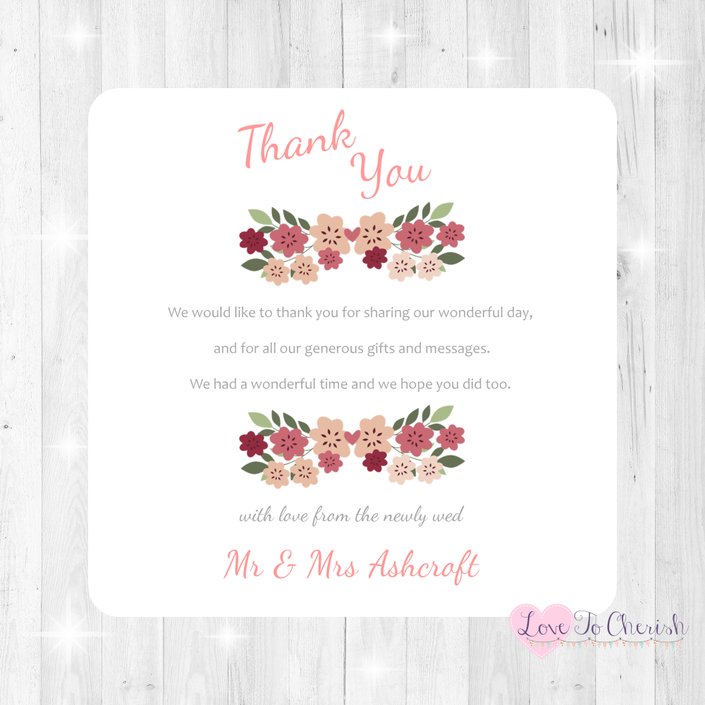 Vintage Floral/Shabby Chic Flowers Wedding Thank You Cards