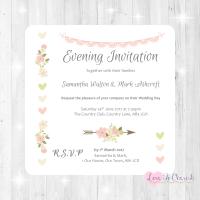 Vintage Flowers & Hearts Wedding Evening Invitations