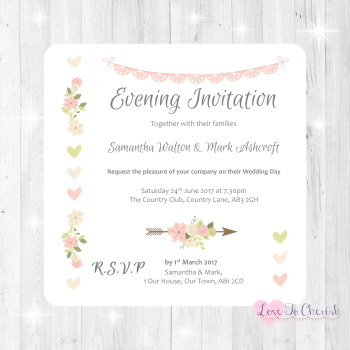 Vintage Flowers & Hearts Wedding Evening Invitations