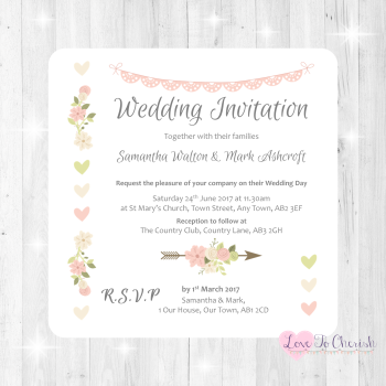 Vintage Flowers & Hearts Wedding Invitations