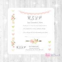 Vintage Flowers & Hearts Wedding RSVP Cards
