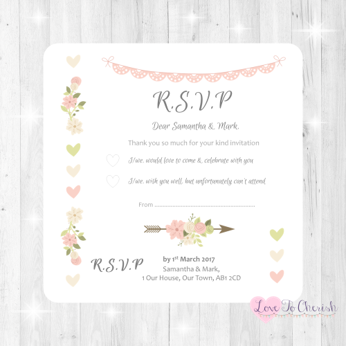 Vintage Flowers & Hearts Wedding RSVP Cards