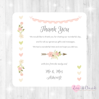 Vintage Flowers & Hearts Wedding Thank You Cards