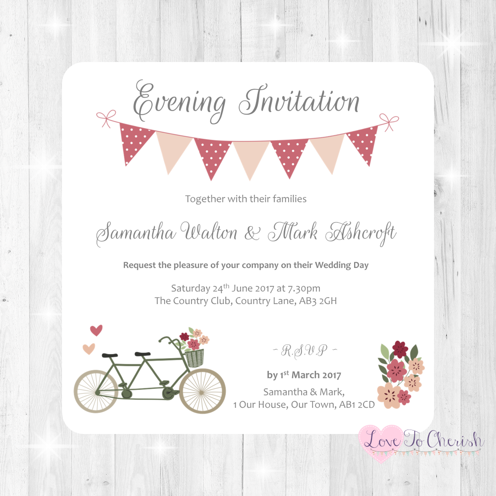 Vintage Tandem Bike/Bicycle Shabby Chic Wedding Evening Invitations